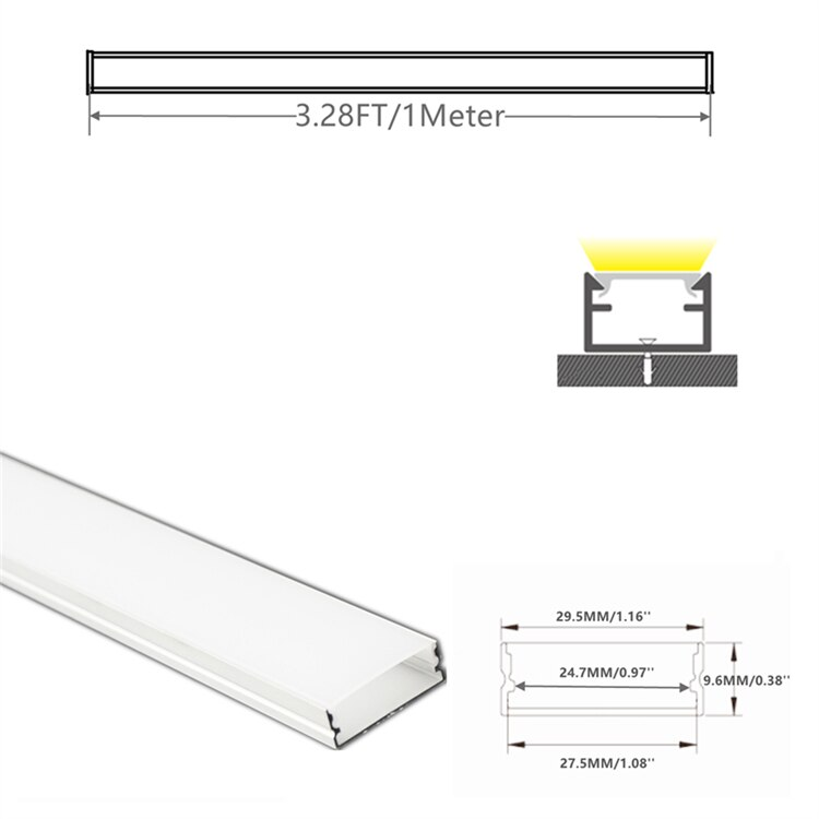 5/10-Pack 3.3FT 1M LED Strip Channel With Milky Cover,Under Cabinet Double Row 27.5mm Tape Flat Aluminium Profile Matte Diffuser