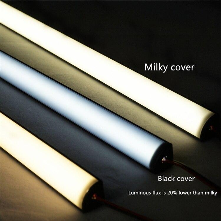 5Pieces Corner 6W/50CM 20 Inch Black LED Bar Light,Tool Chest Wardrobe Shelves Kitchen Book Shoes Display Showcase Cabinet Strip