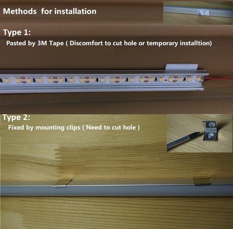 5Pieces U Flat 9W/50CM 20 Inch Black LED Cabinet Light ,Tool Chest Car Trunk Shelves Working Bench Kitchen Cupboard Bar Strip