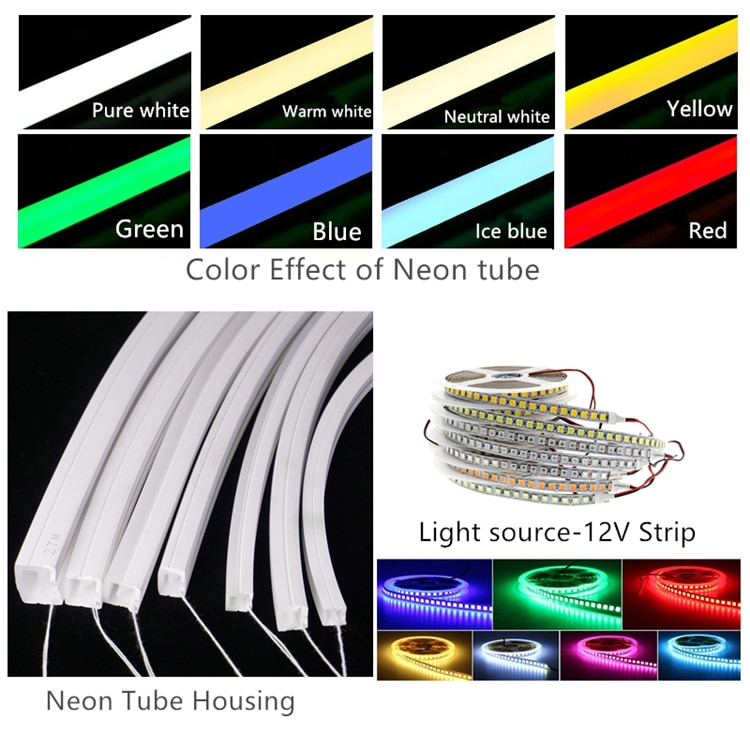 12VDC LED Neon Flex Light,16*16mm Flat 240LED/M Wall Recessed Ceiling Decoration Flexible Surface Mount Neon Strip Linear Rope
