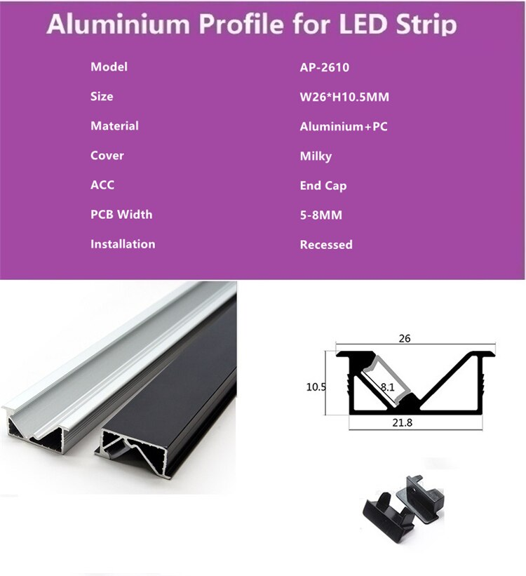 10Pieces 100cm 40 Inch Recessed 45Degree Illuminate LED Aluminium Channel,8mm 12V Strip Light Cabinet Wardrobe Built In Profile