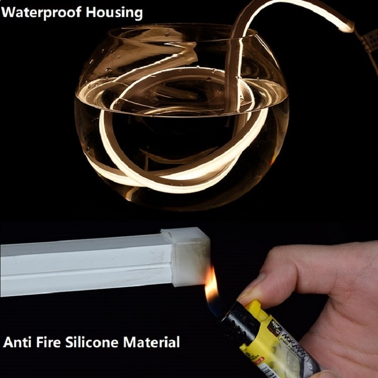 12VDC LED Neon Strip Light,15*15MM 3 Side Emit 240 Diode/M Silicone Flexible Tape Surface Mounted Landscape Outline Linear Rope