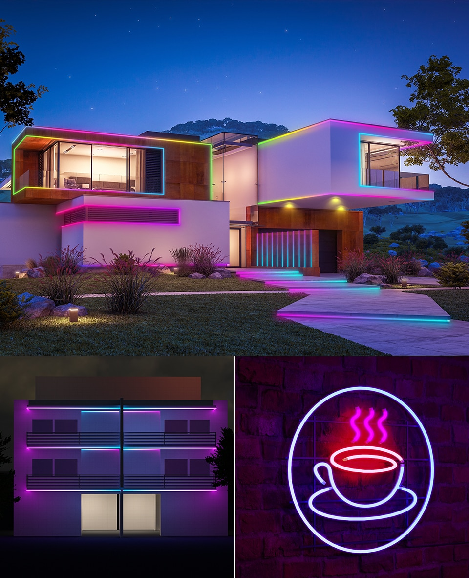 WS2812B SK6812 Individually Addressable Smart RGB LED Light,DC5V Flexible Waterproof Silica Gel Soft Lamp Tube Neon Rope Light
