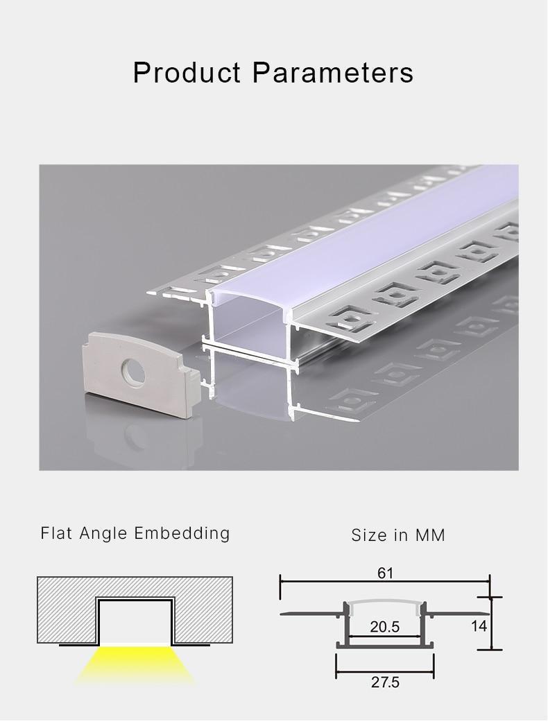 1m 15W SMD Linear LED Bar Lights Recessed Aluminum Profile Staight Line Lamp With 2 Types Cover For Home Indoor Lighting
