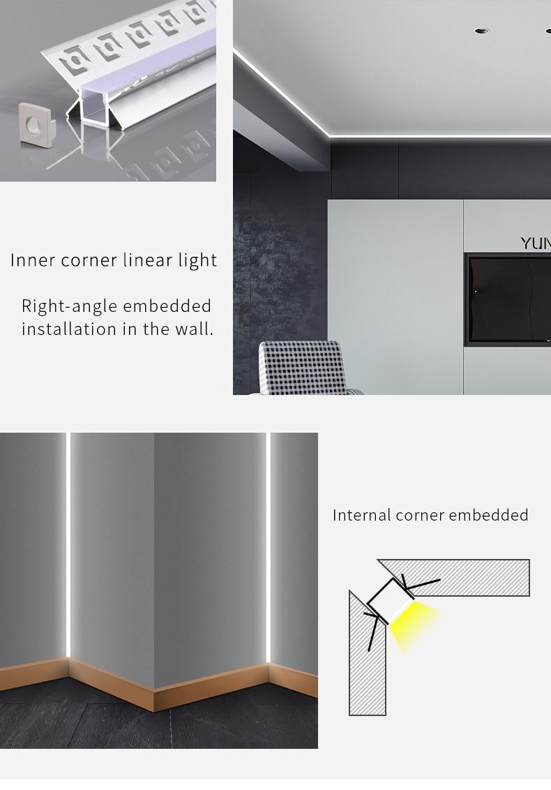 14W Sans Soudure Linéaire Barre De Led Lumières Sans Joint couverture De gel de Silice Plafonniers Encastrés Trimless Profil En Aluminium Lampes Pour Intérieur