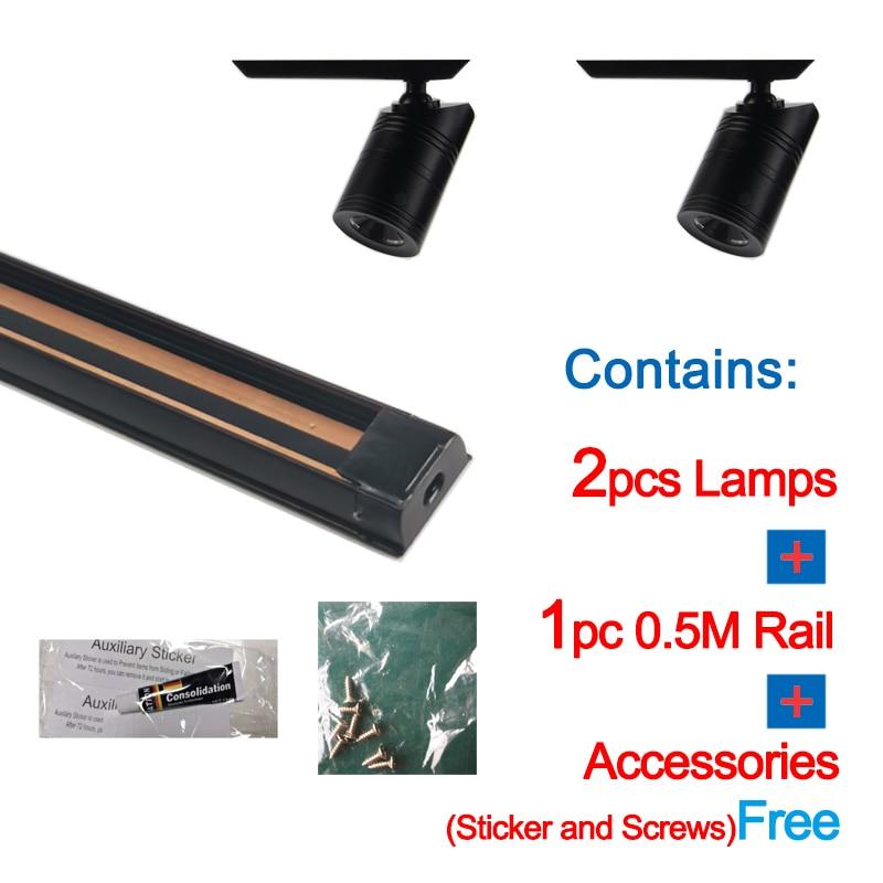 Ensemble complet de rails lumineux LED COB 3W, 0.5 mètres, garde-robe et magasins