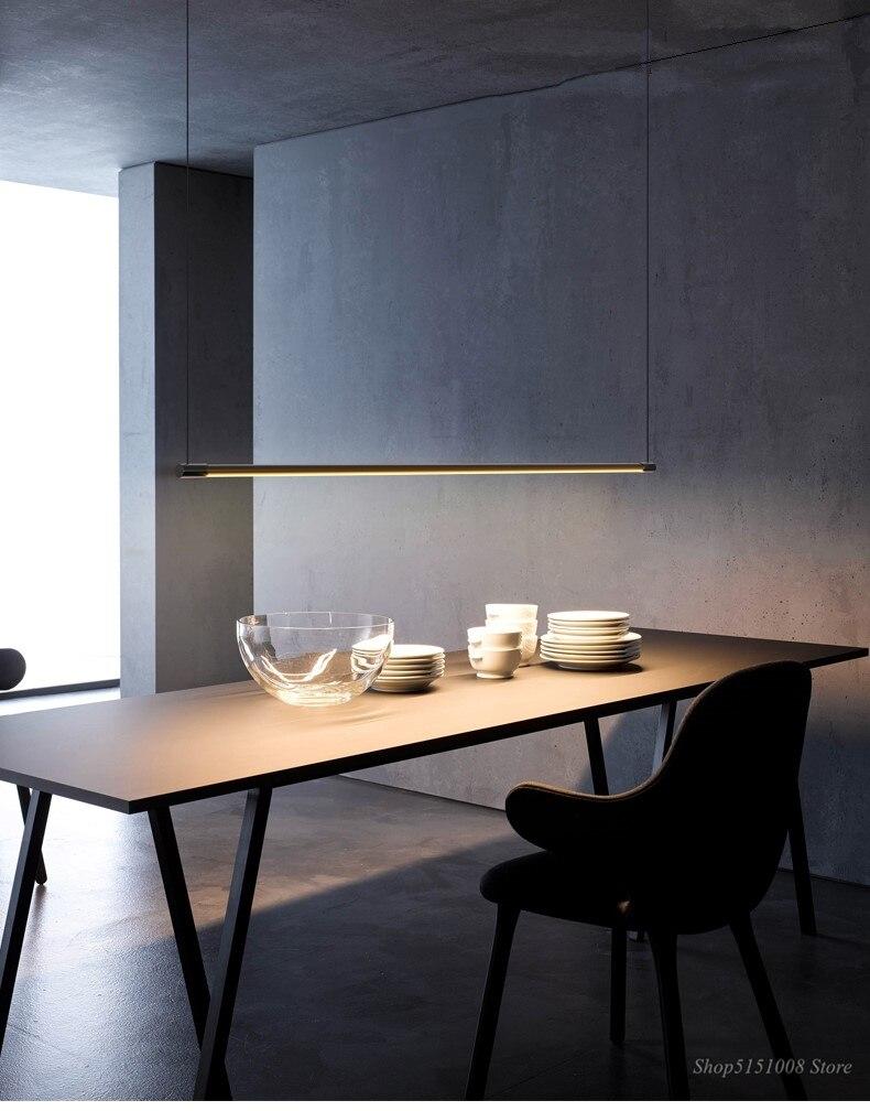 Simple Restaurant Dining Table Strip Pendant Lamp LED Office Modern Pendant Lights Designer Hanging Lamps Decor Lighting Fixture