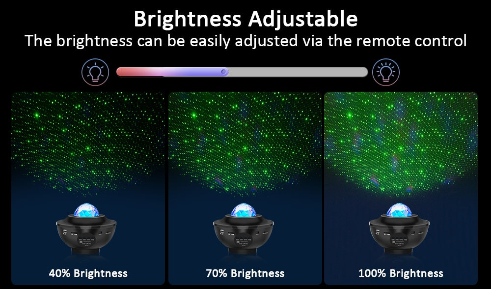USB LED Star Music Starry Water Wave LED Projector Light Bluetooth Projector Sound-Activated Projector Light Night Light
