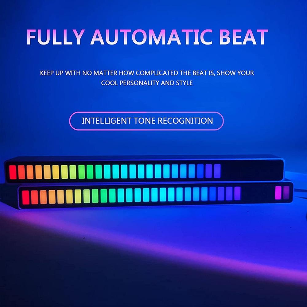 LED Night Light Music Sound Control Level Light Support APP Control USB Charging Ambient Light Audio Rhythm Light For Car Light