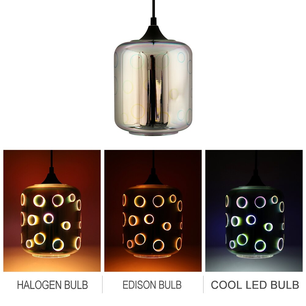 Modern 3D colorful fireworks Nordic starry sky hanging glass lampshade chandelier E27 LED kitchen dining living room cafe bar
