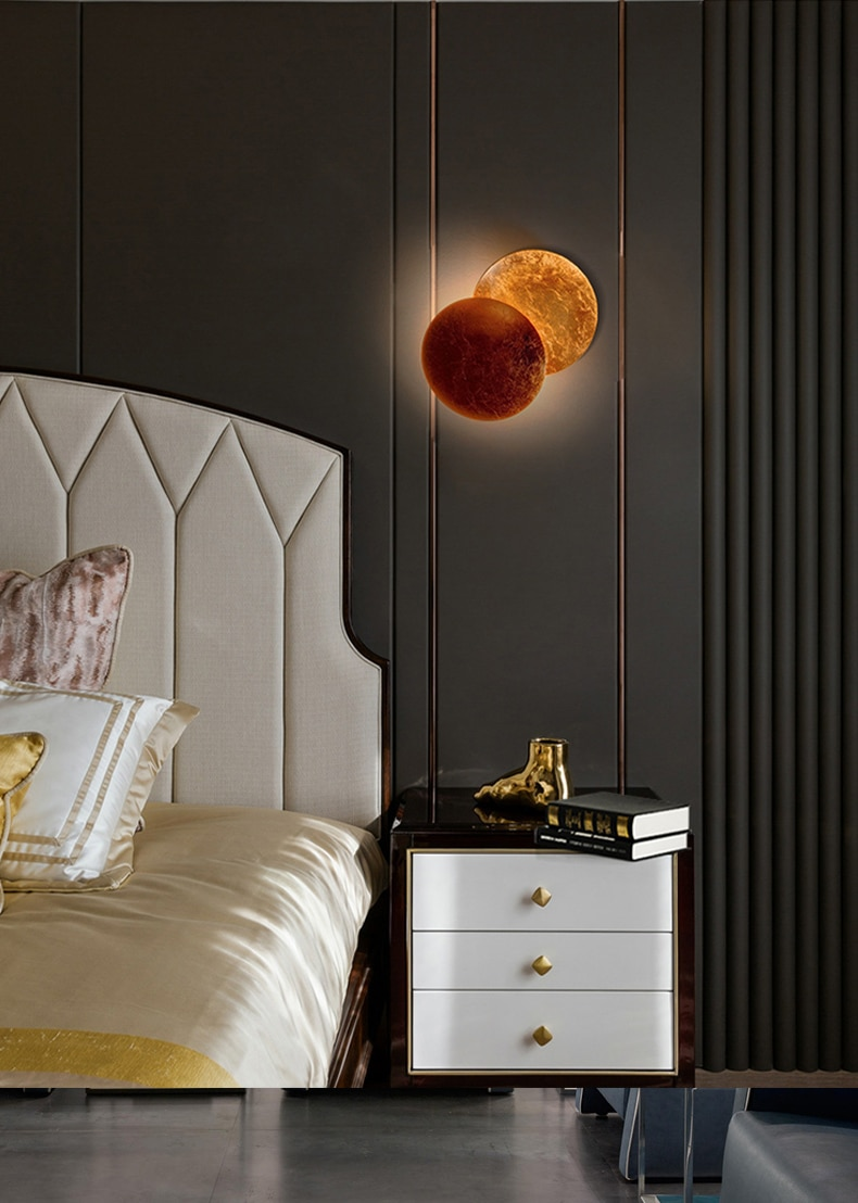 Creative Moon Eclipse Aisle Wall Light Corridor Bedside Wall Lamp Living Room Round Gold Copper LED Wall Sconce