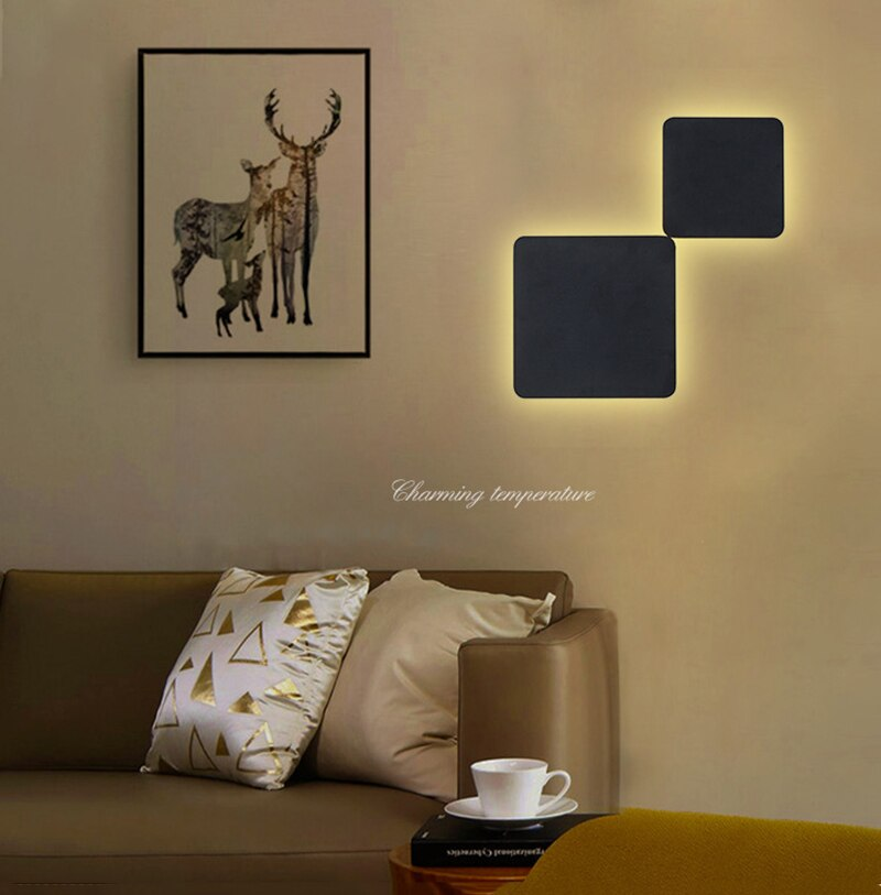 Modern creative LED wall lamp round and square solar eclipse wall lamp bedroom living room corridor staircase background lamp