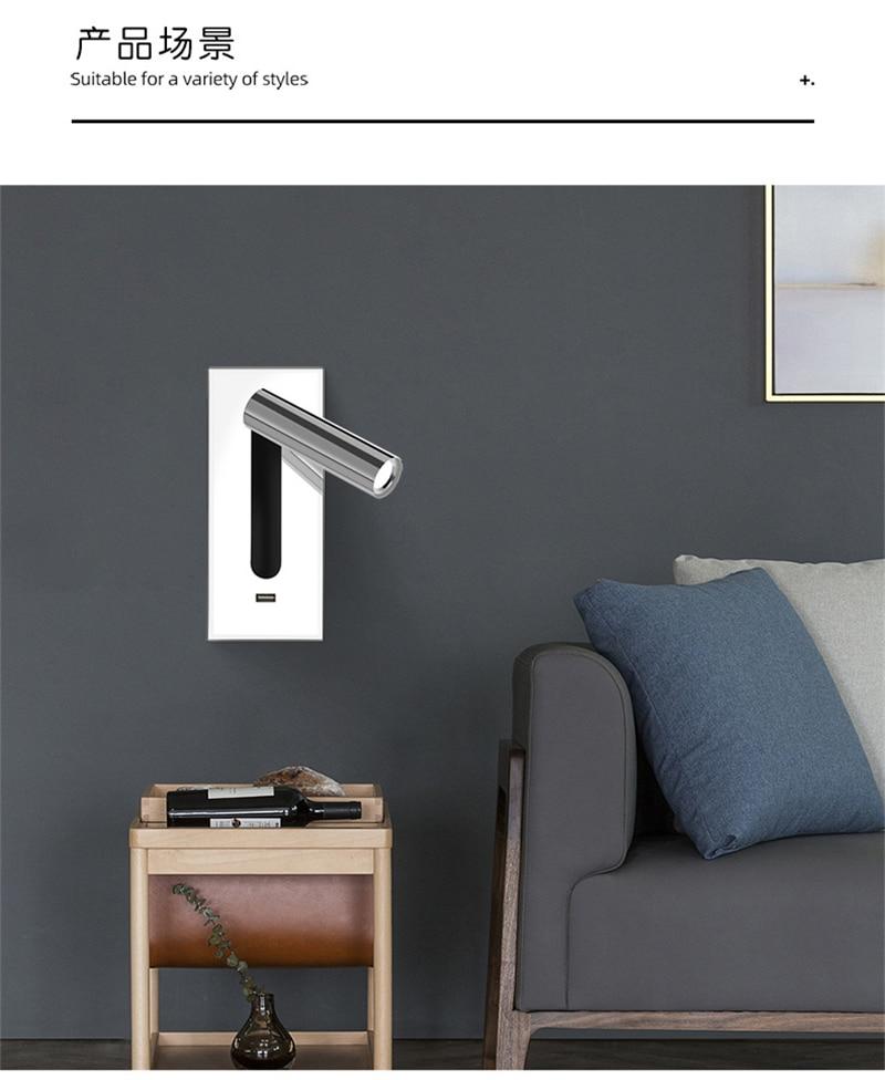 Tokili Recessed LED Wall Lamp with USB Port Bunk Bed Lights Adjustable Sconce Light Bedside Reading Switch On/Off AC100-240V