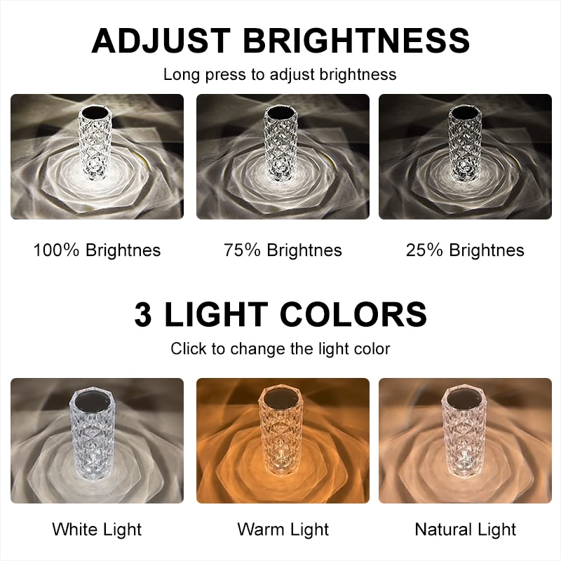 Led Crystal Table Lamp Touch Discolor Rechargeable Desktop Projector Rose Desk Lamp RGB Night Light Bedside Bar Decoration Gift