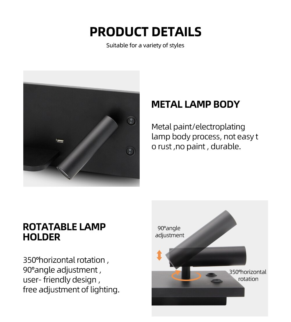 Tokili LED Wall Light Sconces USB and Wireless Charger Independent Ambient with Accent Lamp 100-240V Bedroom Book Read Lighting