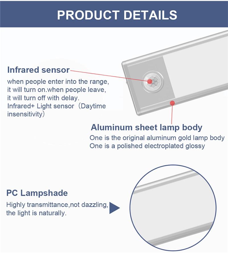 Tokili LED Light for Under Kitchen Cabinets Hand Sweep Switch Bar Lamp Wireless PIR Sensor Wardrobe Closet Lighting Rechargeable