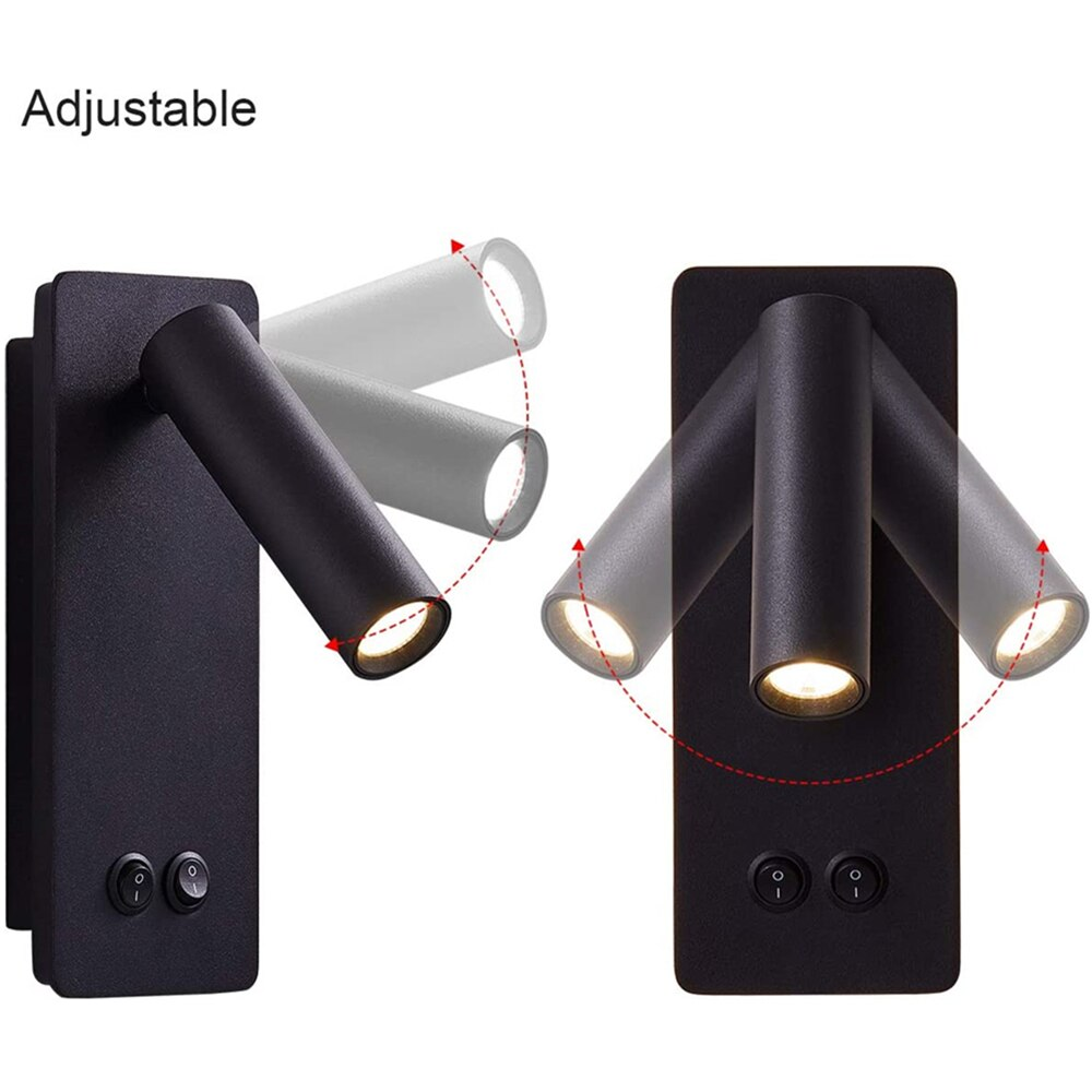 Tokili LED Bedside Reading Wall Lights for Bedroom with Backlight Dual Switched Sconces Surface Mount Directional Book Lamps