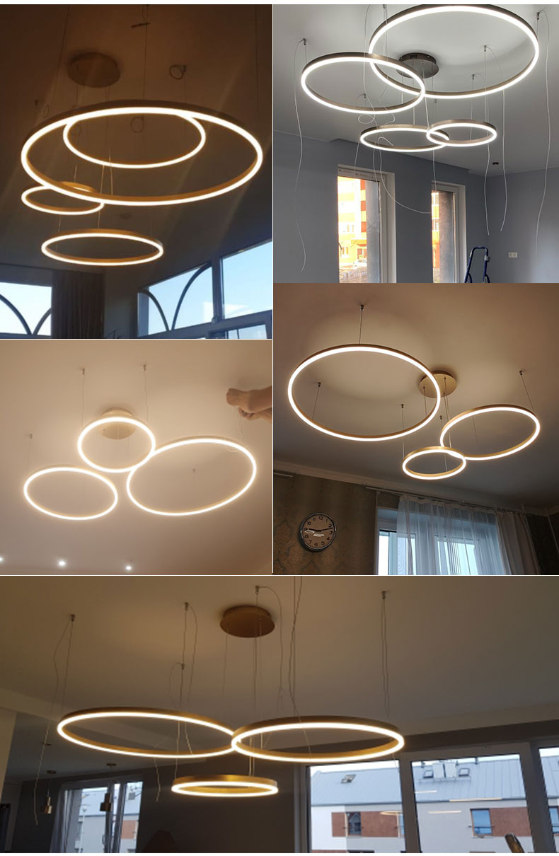 Minimalist Modern Led Chandelier Home Lighting Brushed Rings Ceiling Mounted Chandelier Lighting Hanging Lamp Gold&Coffee color