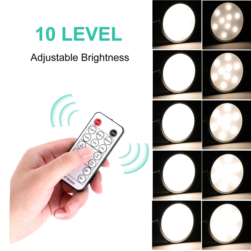AIBOO LED Under Cabinet Puck Light Under Counter Lights With Wireless Timer Remote Dimmable for kitchen Shelf Furniture Lighting