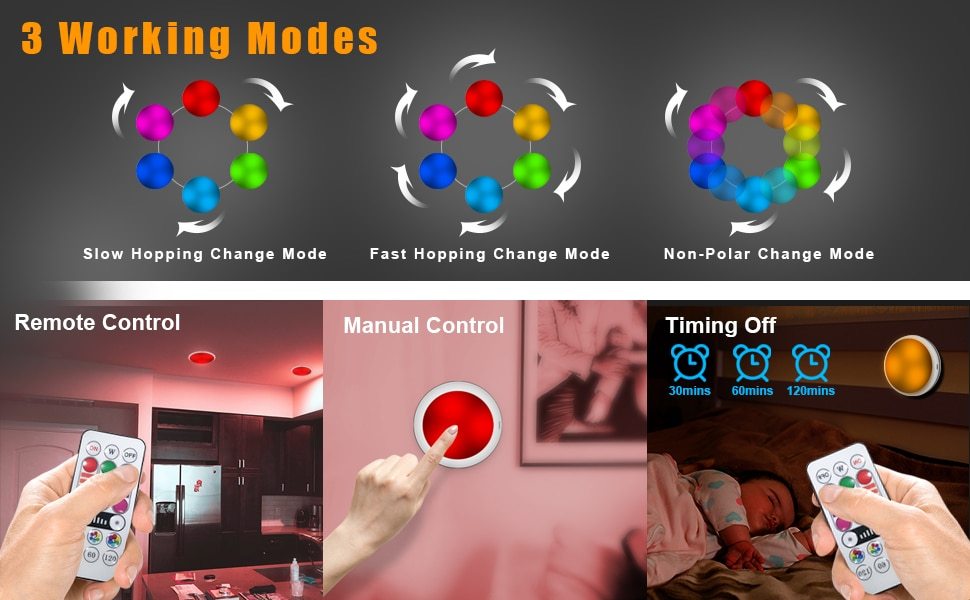 USB Rechangeable RGBW LED Cabinet Light Puck Light 16 Colors Remote Under Shelf Kitchen Counter Lighting Night Lamp