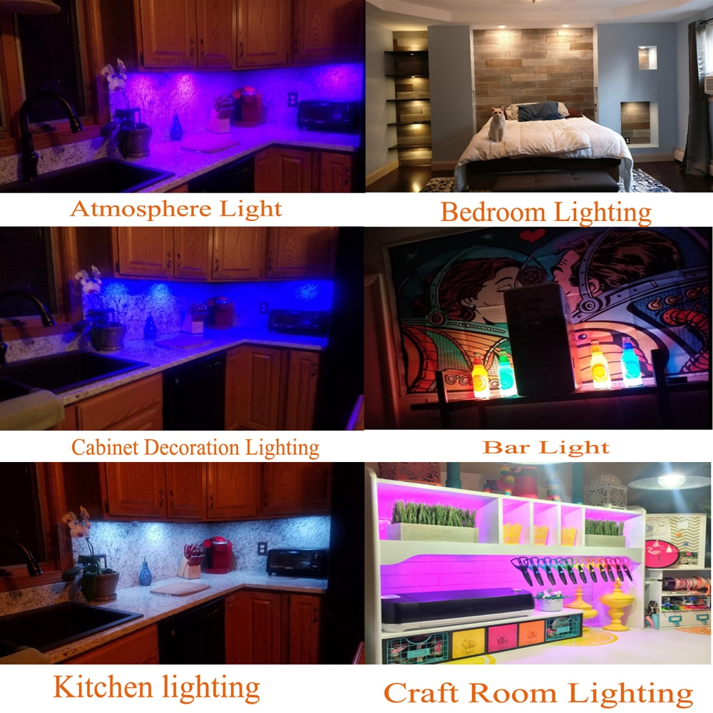 AIBOO Cabinet light LED RGBW/RGBWW 4/5/6/8/10/12 Lamps Linkable Under Counter lighting with remote for Kitchen wardrobe