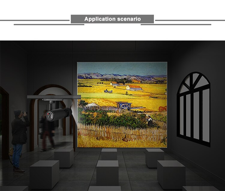 No glare flicker free shapeable led track light zoomable spot shaping led projector for museum gallery art exhibition